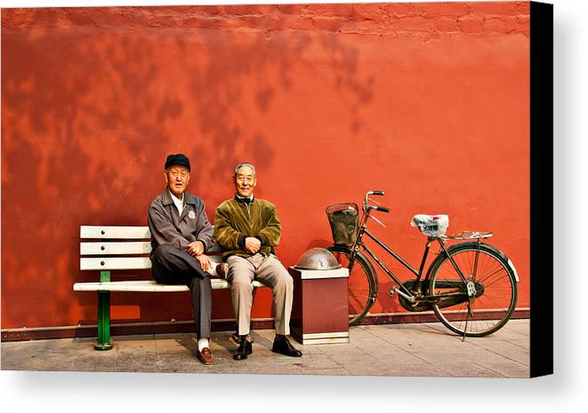 Two Men Canvas Print featuring the photograph Two Amigos At Forbidden City Beijing by Harry Neelam