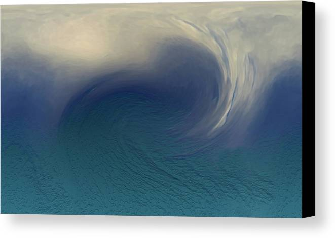 Abstract Wave Blue White Canvas Print featuring the digital art Water And Clouds by Linda Sannuti