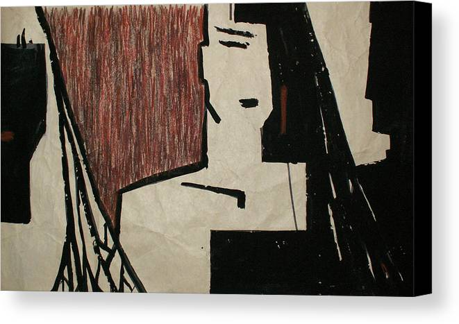 Woman Canvas Print featuring the drawing Accidental Contact by Kseniya Nelasova