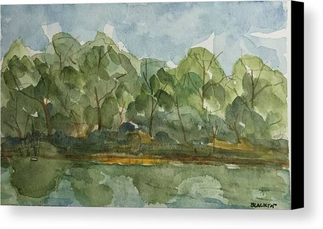 Landscape Ethowa River Trees Canvas Print featuring the painting Floating Along The Etowah River by Ken Blacktop Gentle