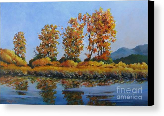 Landscape Canvas Print featuring the painting Autumn At Fraser Valley by Marta Styk