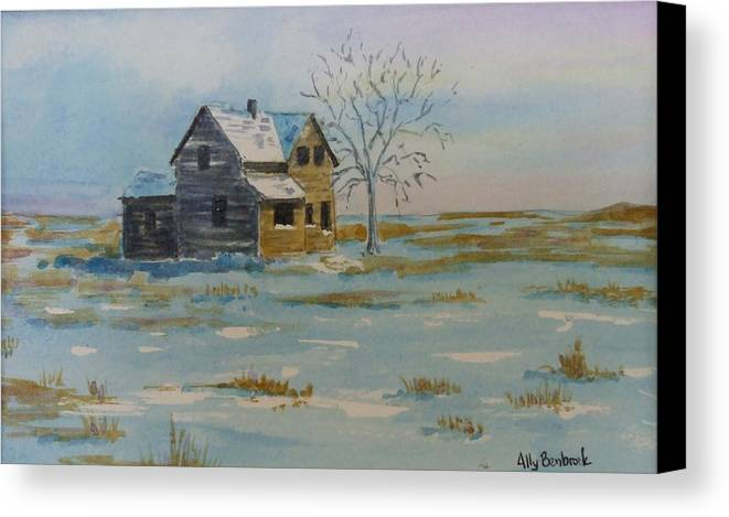 Abandoned Canvas Print featuring the painting Barren Prairie by Ally Benbrook
