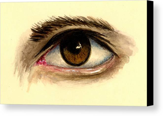 Eye Canvas Print featuring the painting Brown Eye by Michael Vigliotti