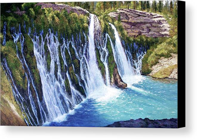 Burney Falls In Northern California Canvas Print featuring the painting Burney Falls by Donald Neff