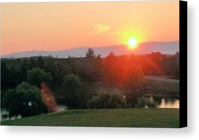 Landscape Canvas Print featuring the photograph Burning Morning Sky by Mike Rosansky