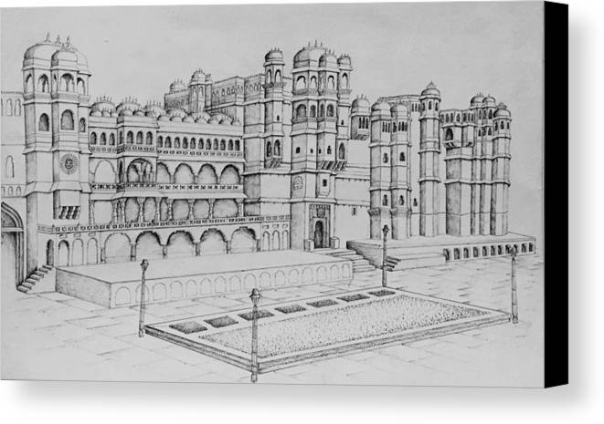 Palace Canvas Print featuring the painting City Palace Of Udaipur by Yash