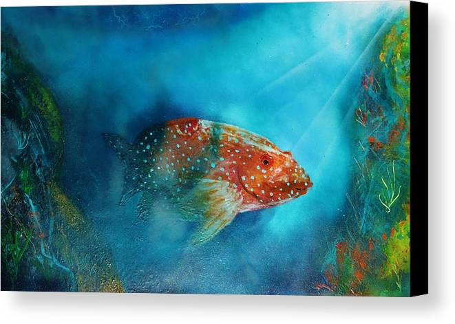 Canvas Print featuring the painting Coral Trout by Mario Carta