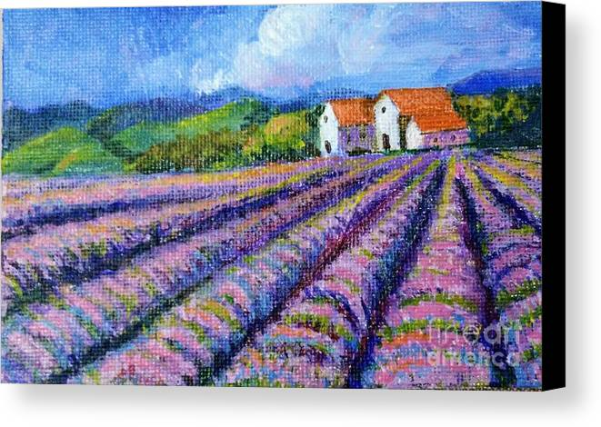Acrylic Canvas Print featuring the painting Distant Houses And Lavender Fields by Asha Sudhaker Shenoy
