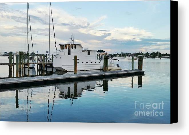 Houseboat Canvas Print featuring the photograph Docked At Dusk II by Jennifer Boisvert