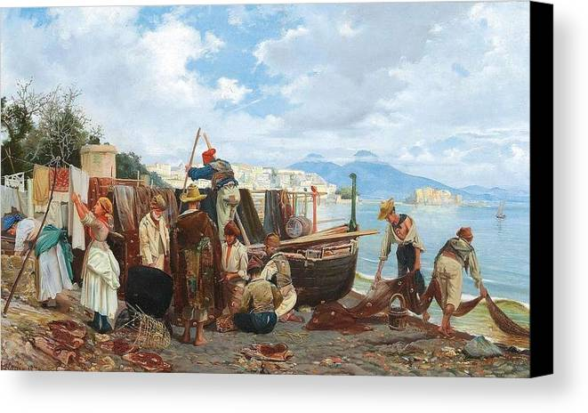 Nature Canvas Print featuring the painting Eduardo Matania - Fishing Family In The Bay Of Naples 1872 by Eduardo Matania