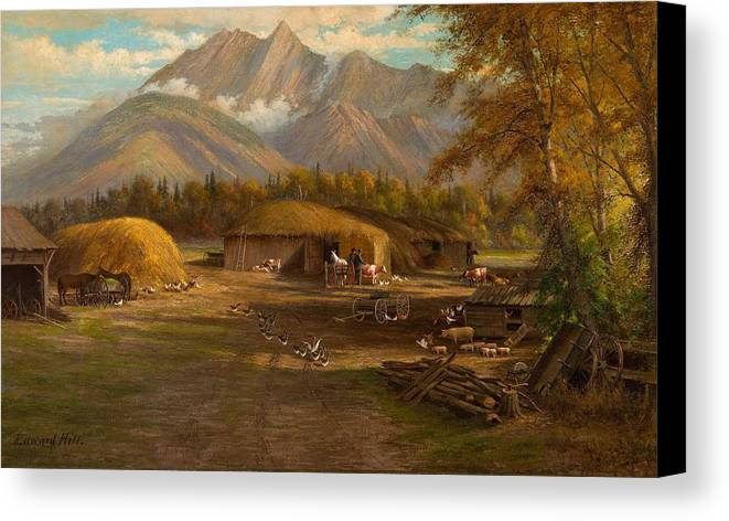 Nature Canvas Print featuring the painting Edward Hill 1843-1923 Adamsons Ranch, Utah by Edward Hill