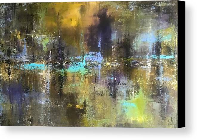 Abstract Acrylic Painting John Cammarano Green Blue Purple Canvas Print featuring the painting Green Pond by John Cammarano