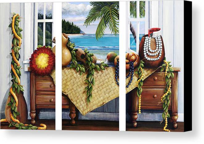 Acrylic Canvas Print featuring the painting Hawaiian Still Life With Haleiwa On My Mind by Sandra Blazel - Printscapes