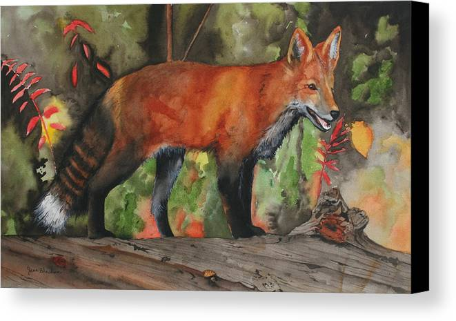 Fox Canvas Print featuring the painting Hiding In Plain Sight by Jean Blackmer