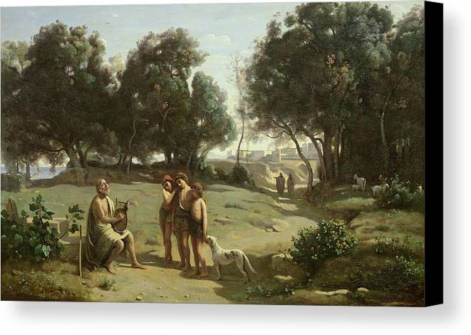Homer Canvas Print featuring the painting Homer And The Shepherds In A Landscape by Jean Baptiste Camille Corot