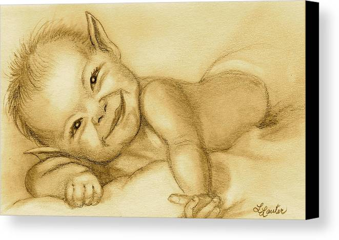 Baby Elf Canvas Print featuring the drawing Imp by L Lauter