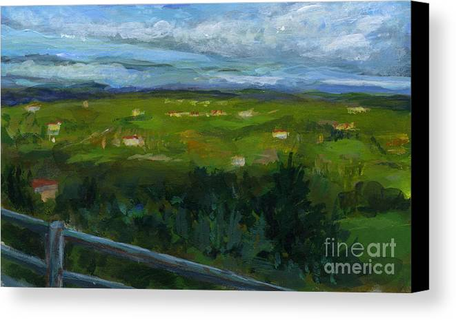 Landscape Canvas Print featuring the painting Italy005 Somewhere In Tuscany by Silvana Siudut