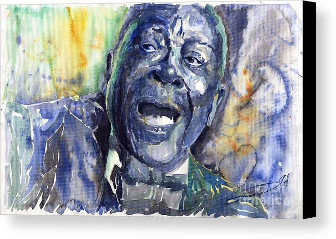 Jazz Canvas Print featuring the painting Jazz B.b.king 04 Blue by Yuriy Shevchuk