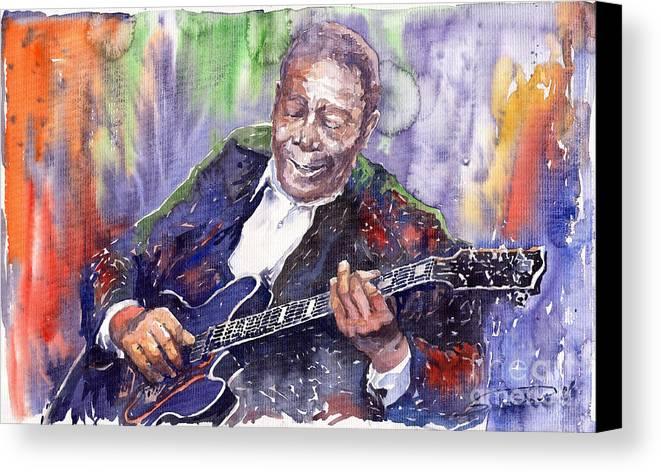 Jazz Canvas Print featuring the painting Jazz B B King 06 by Yuriy Shevchuk