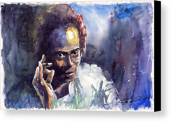 Jazz Watercolor Watercolour Miles Davis Portret Canvas Print featuring the painting Jazz Miles Davis 11 by Yuriy Shevchuk