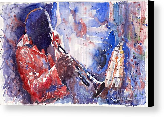 Jazz Canvas Print featuring the painting Jazz Miles Davis 15 by Yuriy Shevchuk