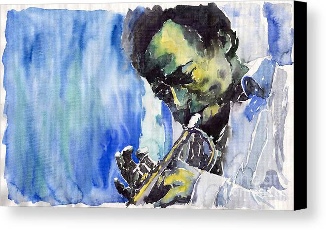 Canvas Print featuring the painting Jazz Miles Davis 5 by Yuriy Shevchuk
