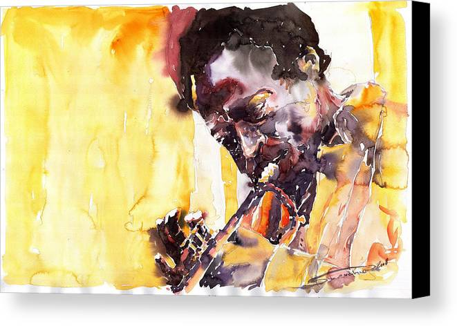 Jazz Music Watercolor Watercolour Miles Davis Trumpeter Portret Canvas Print featuring the painting Jazz Miles Davis 6 by Yuriy Shevchuk