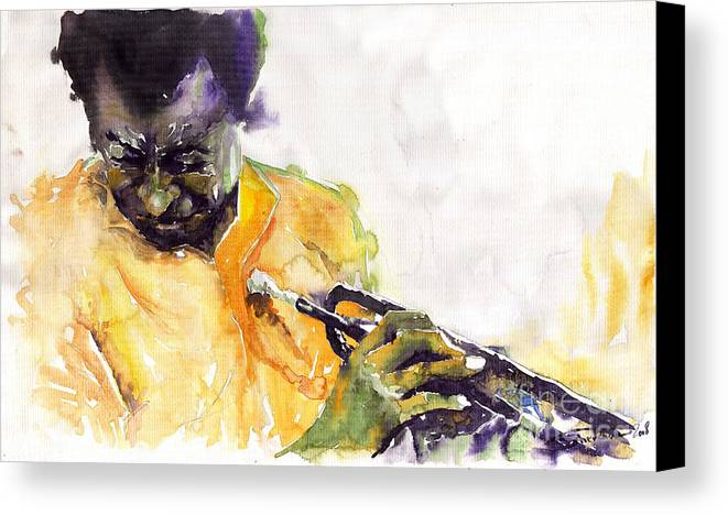 Davis Figurativ Jazz Miles Music Portret Trumpeter Watercolor Watercolour Canvas Print featuring the painting Jazz Miles Davis 7 by Yuriy Shevchuk