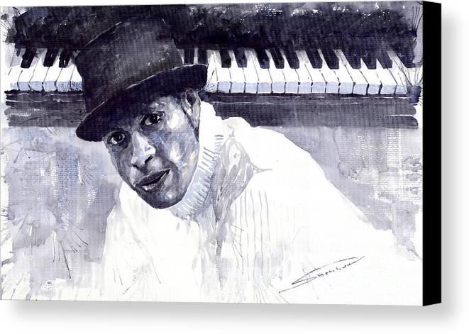 Jazz Canvas Print featuring the painting Jazz Roberto Fonseca by Yuriy Shevchuk