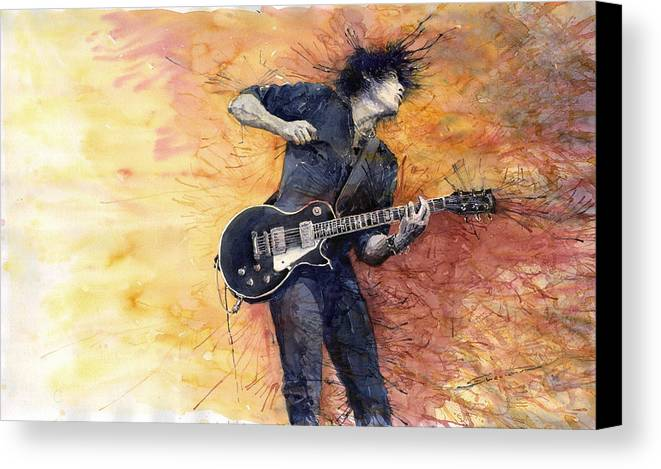 Figurativ Canvas Print featuring the painting Jazz Rock Guitarist Stone Temple Pilots by Yuriy Shevchuk