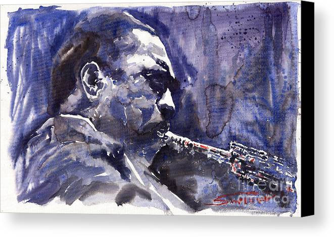 Jazz Canvas Print featuring the painting Jazz Saxophonist John Coltrane 01 by Yuriy Shevchuk