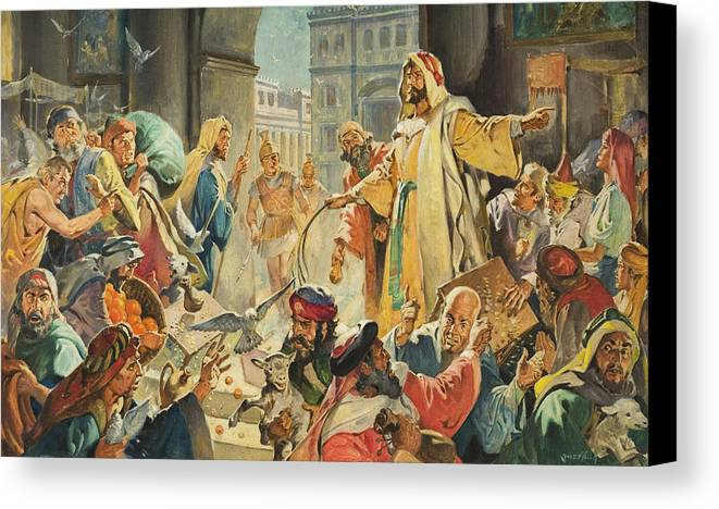 Jesus Canvas Print featuring the painting Jesus Removing The Money Lenders From The Temple by James Edwin McConnell