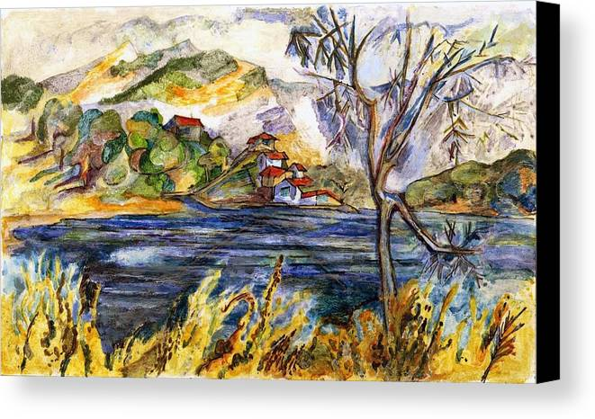 Lake Casitas Canvas Print featuring the painting Lake Casitas IIi by Lily Hymen