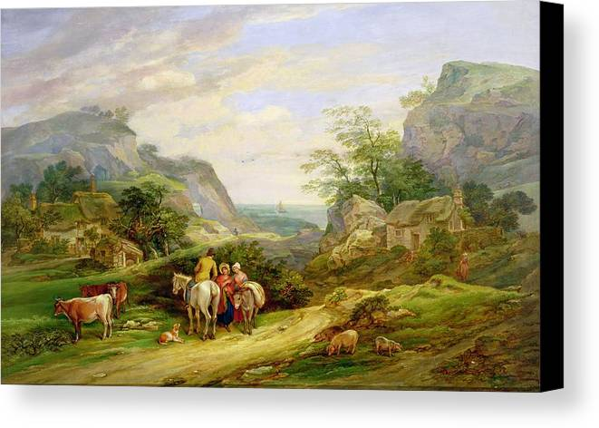 Landscape Canvas Print featuring the painting Landscape With Figures And Cattle by James Leakey