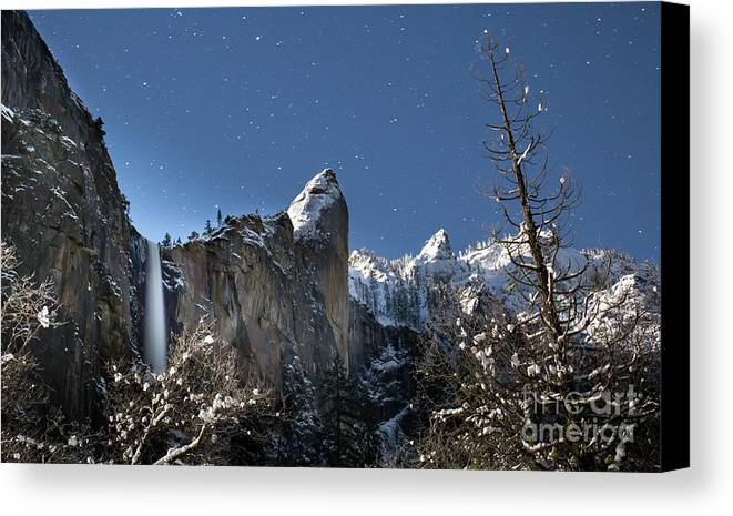 Yosemite Canvas Print featuring the photograph Moonlit Bridalveil Falls-yosemite Valley by Leslie Wells