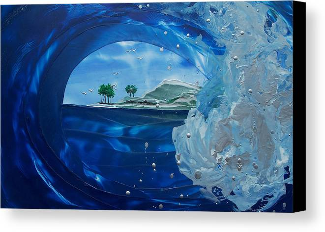Wave Canvas Print featuring the painting North Shore Window Barrel Right by Danita Cole