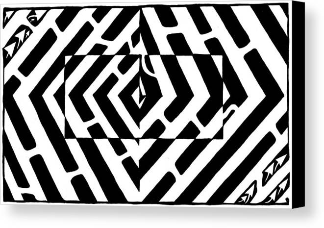Optical Illusion Canvas Print featuring the drawing Optical Illusion Maze Of Floating Box by Yonatan Frimer Maze Artist