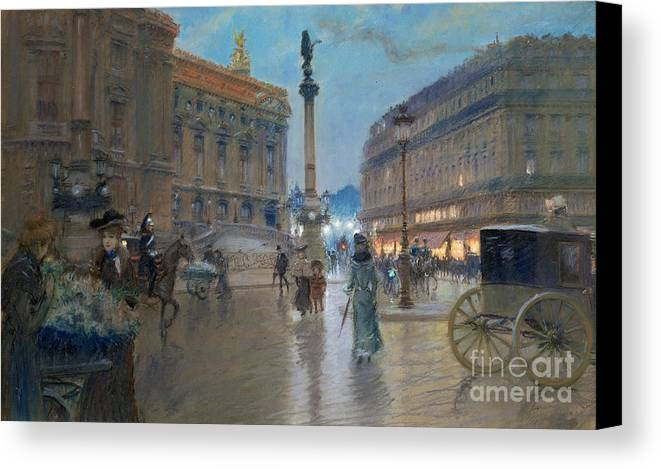 Place De L'opera Canvas Print featuring the painting Place De L Opera In Paris by Georges Stein