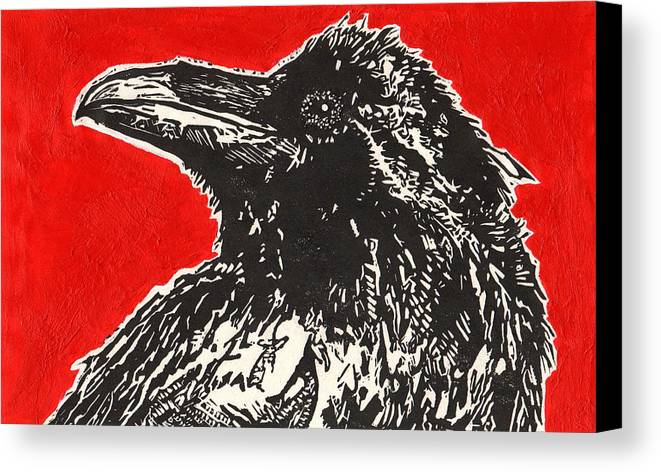 Linocut Canvas Print featuring the painting Red Hot Raven by Julia Forsyth