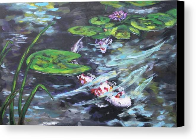 Koi Fish Water Waterscape Lily Pad Pond Reeds Nature Canvas Print featuring the painting Ripple Rouser by Alan Scott Craig