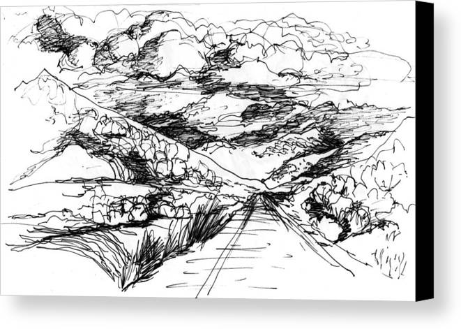 Canvas Print featuring the drawing Road To Palmdale 1 by Lily Hymen