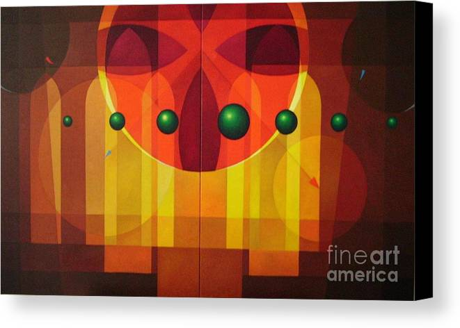 Geometric Abstract Canvas Print featuring the painting Seven Windows - 2 by Alberto DAssumpcao