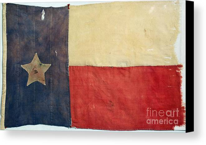 1842 Canvas Print featuring the photograph Texas Flag, 1842 by Granger