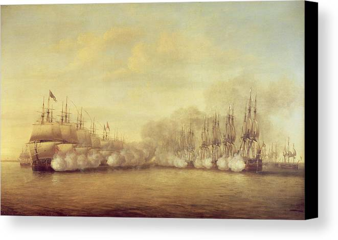 The Canvas Print featuring the painting The Battle Of Negapatam by Dominic Serres