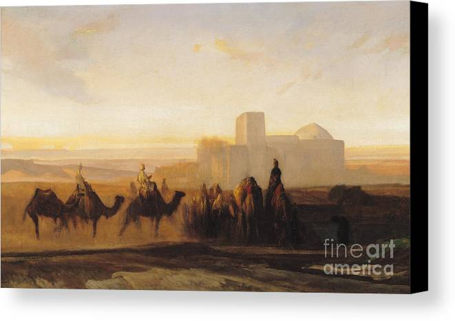 The Canvas Print featuring the painting The Caravan by Alexandre Gabriel Decamps