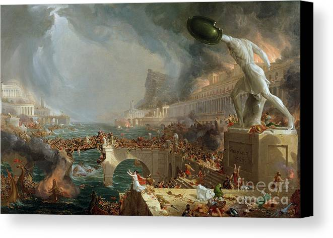 Destroy; Attack; Bloodshed; Soldier; Ruin; Ruins; Shield; Monument; Bridge; Classical Architecture; Galleon; Barbarian; Barbarians; Possibly Fall Of Rome; Hudson River School; Statue Canvas Print featuring the painting The Course Of Empire - Destruction by Thomas Cole