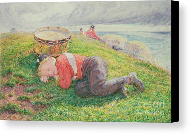 The Canvas Print featuring the painting The Drummer Boy's Dream by Frederic James Shields