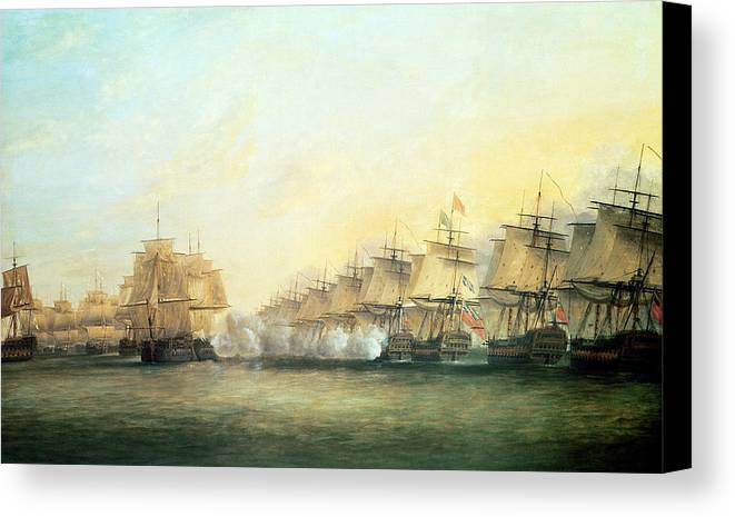 The Canvas Print featuring the painting The Fourth Action Off Trincomalee Between The English And The French by Dominic Serres