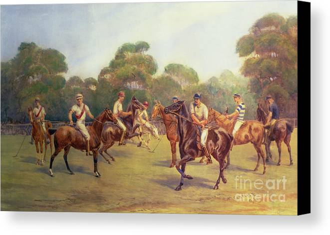 The Canvas Print featuring the painting The Polo Match by C M Gonne