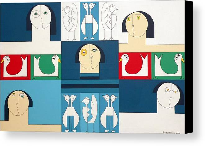 People Birds Music Modern Special Canvas Print featuring the painting The Sound Of Birds by Hildegarde Handsaeme